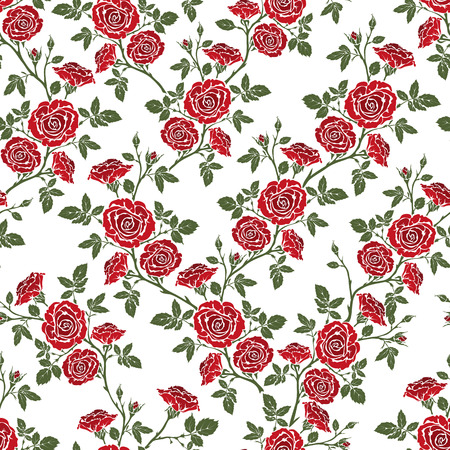 calico: seamless pattern - romantic red roses. For printing on fabric, scrapbooking, gift wrap.