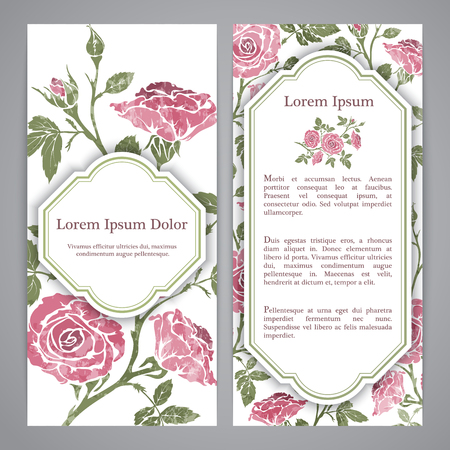 flayers: Flayers with floral pattern - rose graphic flowers. Stock Photo