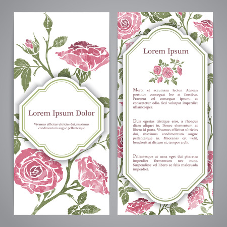 flayers: Flayers with floral pattern - rose graphic flowers. Illustration