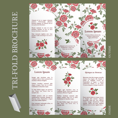 english rose: Tri-fold brochure template with english rose flower pattern Illustration