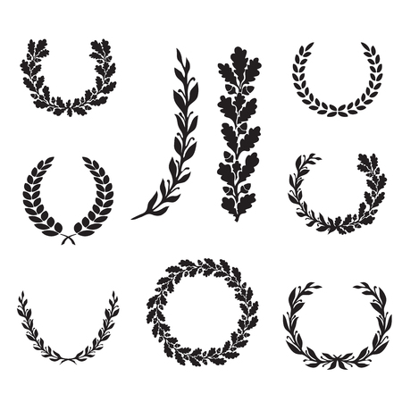 oak wreath: Silhouette laurel and oak wreaths in different  shapes - half circle, circle, branch