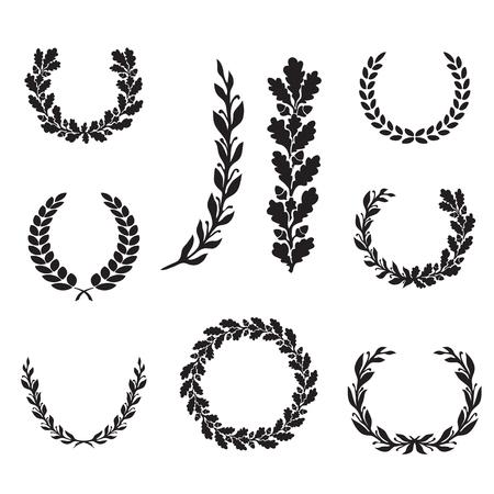 Silhouette di alloro e di quercia corone in diverse forme - semicerchio, cerchio, ramo