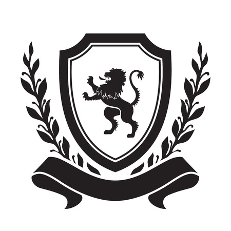 Coat of arms - shield with lion, laurel wreath and ribbon. Based on and inspired by old heraldry.