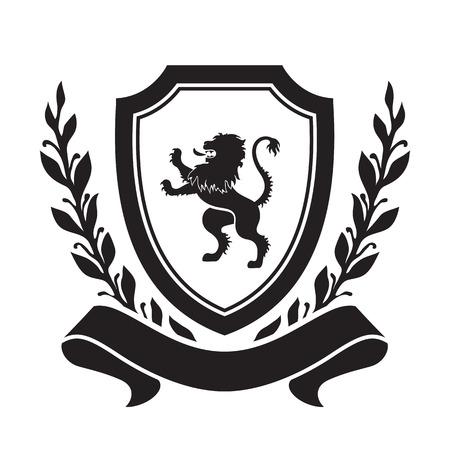Blason d'armes - bouclier avec lion, couronne de laurier et ruban. Basé sur et inspiré par l'ancien héraldique.