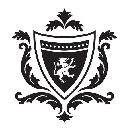 gryphon: Coat of arms - shield with gryphon and floral ornament. Based on and inspired by old heraldry.