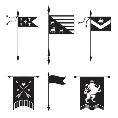 lys: Pennant and gonfanon silhouettes - with lion, arrows,  crown and fleur de lys. Based on and inspired by old heraldry.