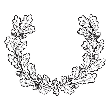 design drawing: Artistic hand drawn illustration of oak wreath, ink drawing imitation