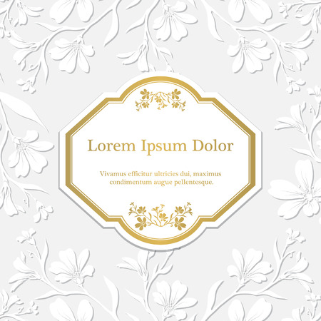 embossed paper: Background with chickweed (tomentosum) graphic flowers. Embossed paper imitation Illustration