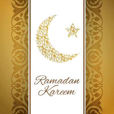 half moon: Ramadan Kareem greeting card with half moon and star, gold color vector illustration Stock Photo