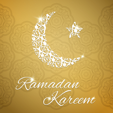 flayer: Ramadan Kareem greeting card with half moon and star, gold color vector illustration Stock Photo