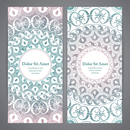 rosetta: Vector banners with mandala in blue and pink colors. Based on ancient greek, islamic and turkish ornaments. For invitation, banner, postcard or textile.