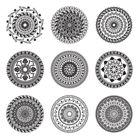 rosetta: Monochromatic round abstract ethnic ornament mandalas. Based on old greek, arabic and turkish motifs. For textile, invitations, banners and other