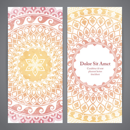 rosetta: Vector flyers with mandala in yellow and pink colors. Based on ancient greek, islamic and turkish ornaments. For invitation, banner, postcard Illustration
