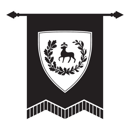 doe: Gonfalon - shield with doe, laurel and oak wreath. Based on and inspired by old heraldry. Illustration