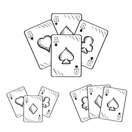 combinations: Set of sketch playing cards, aces in different combinations. Hand drawn illustration Illustration