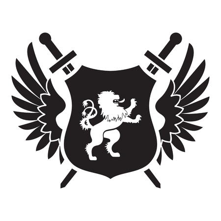lion with wings: Coat of arms - shield with swords, lion, two wings at the sides. Based on and inspired by old heraldry.