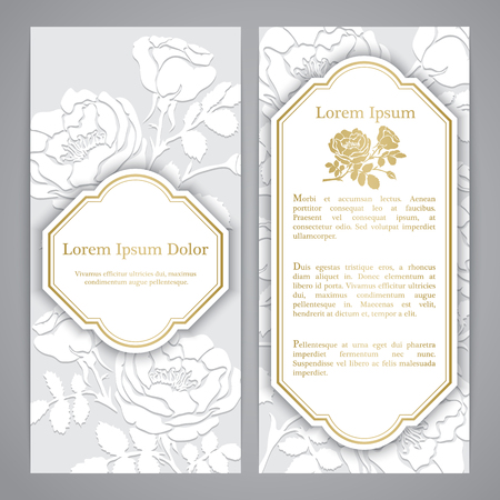 flayers: Flayers with rose graphic flowers. Embossed paper imitation Illustration