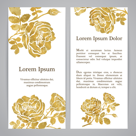 flayers: Flayers with floral pattern - rose graphic flowers in gold color