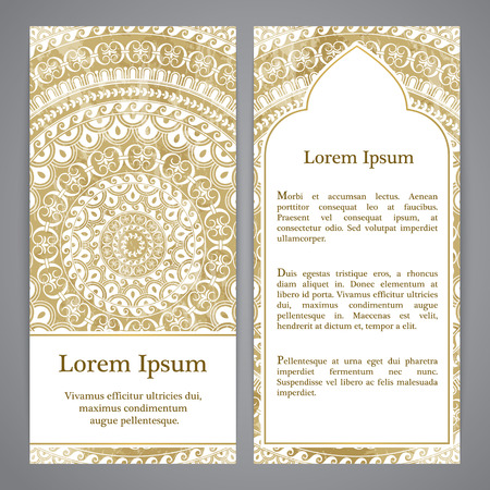 rosetta: Vector banners with mandala in gold color. Based on ancient greek, islamic and turkish ornaments. For invitation, banner, postcard or textile. Illustration
