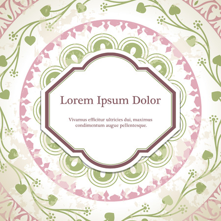 rosetta: Vector background with mandala in pink and green. Based on ancient greek, islamic and turkish ornaments. For invitation, banner, postcard or textile. Illustration