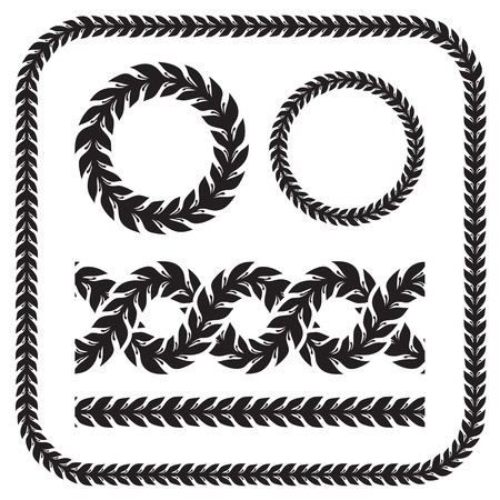 different shapes: Silhouette laurel wreaths in different  shapes - circle, border, seamless ornament Illustration