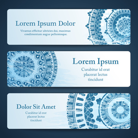 rosetta: Vector banners with mandala in blue color. Based on ancient greek, islamic and turkish ornaments. For invitation, banner, postcard or textile.
