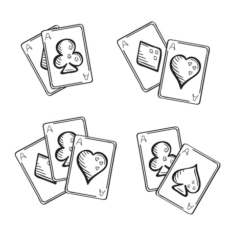 aces: Set of sketch playing cards, aces in different combinations. Hand drawn illustration Illustration
