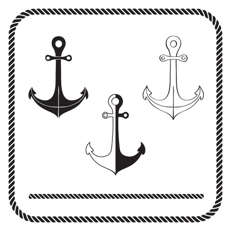 rope border: Silhouette anchors and rope border Illustration