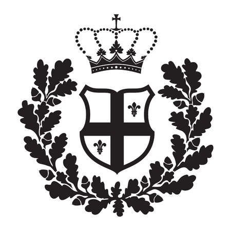 cross arms: Coat of arms - shield with cross, oak wreath and fleur-de-lys. Based on and inspired by old heraldry.