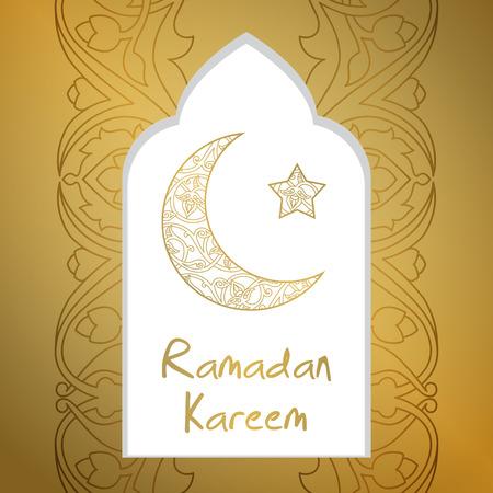 half moon: Ramadan Kareem greeting card with half moon and star, gold color vector illustration Illustration