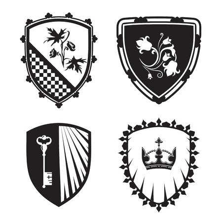 Wappen - Schild Silhouetten mit Krone, Schlüssel, Blumen. Für Zeichen und Symbole (Sicherheit, Sicherheit, Militär, mittelalterliche). Basierend auf und von alten Heraldik inspiriert.