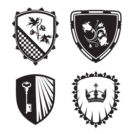 Coat of arms - shield silhouettes with crown, key, flowers. For signs and symbols (safety, security, military, medieval). Based on and inspired by old heraldry.