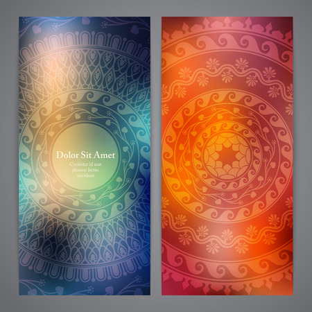 rosetta: Vector flyers with mandala in orange and blue colors. Based on ancient greek, islamic and turkish ornaments. For invitation, banner, postcard.