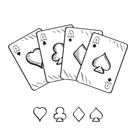 Set of sketch playing cards, aces in different combinations. Hand drawn illustration Stock Vector - 61235313