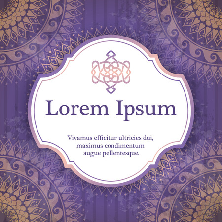 rosetta: Vector background with mandala in purple color. Based on ancient greek, islamic and turkish ornaments. For invitation, banner, postcard or textile. Illustration