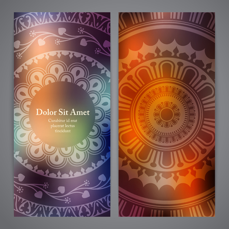 rosetta: Vector flyers with mandala in orange and purple colors. Based on ancient greek, islamic and turkish ornaments. For invitation, banner, postcard or textile.