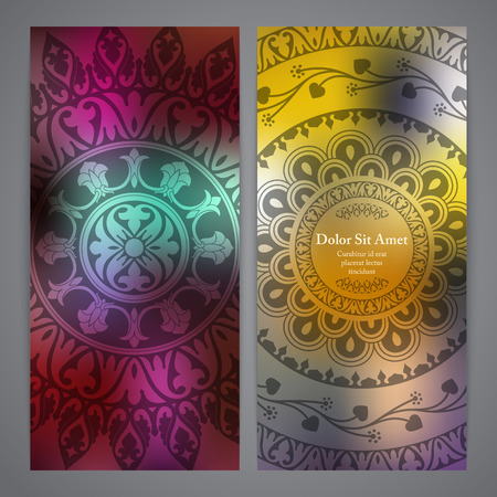 rosetta: Vector flyers with mandala in yellow and red colors. Based on ancient greek, islamic and turkish ornaments. For invitation, banner, postcard or textile.