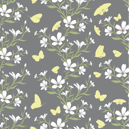 cerastium tomentosum: Vector seamless tiling pattern - romantic tomentosum flowers. For printing on fabric, scrapbooking, gift wrap.