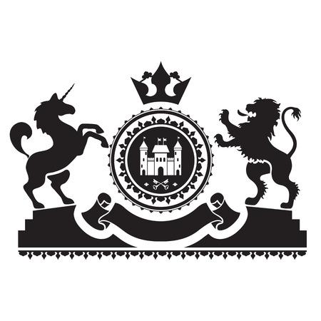 紋章付き外衣 - 要塞、キーとロゼット。ライオンとユニコーン側面で台座に立っています。上部クラウン。古い紋章に触発さに基づいています。