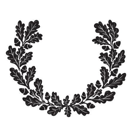 Artistic illustration of oak wreath, ink drawing imitation Vektorové ilustrace