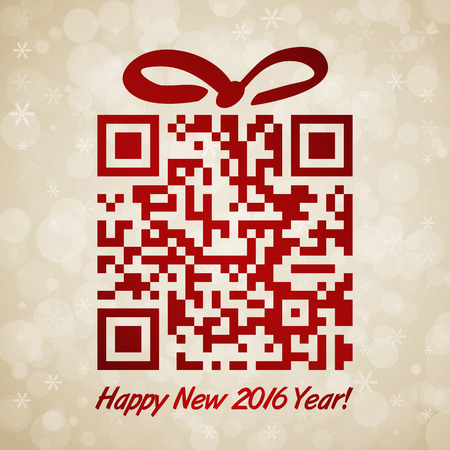 Christmas and New Year background with QR code Illustration