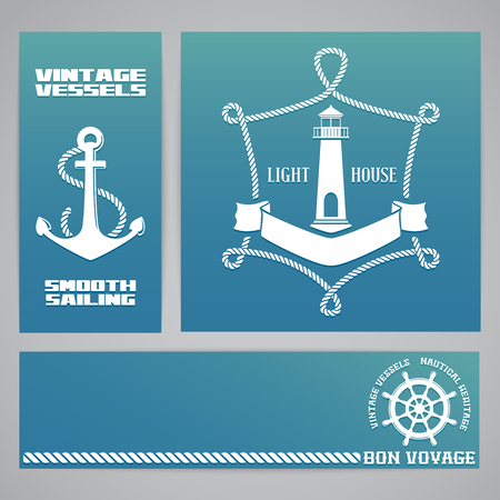 seafaring: Templates for banners and flyers with nautical elements - rope, lighthouse and anchor emblems Illustration