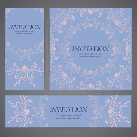 ar: Floral backgrounds with hand drawn ornament. Templates for banner, flyer ar invitation