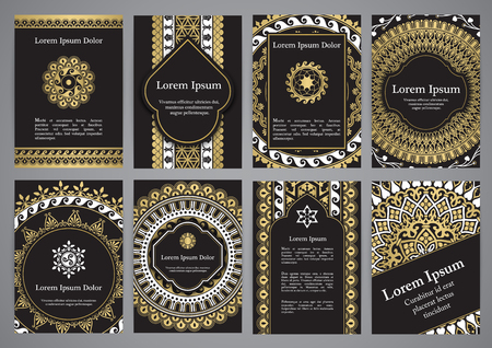 Vector templates with mandala in black, gold and white colors. Based on ancient greek, islamic and turkish ornaments. For invitation, banner, postcard or flyer.