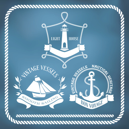 Nautical emblems  and signs with vessel, light house and anchor. Seamless rope border