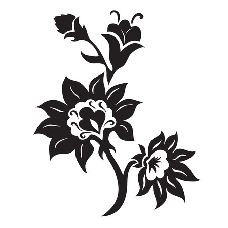 Black and white floral silhouette ornament, hand drawn  illustration