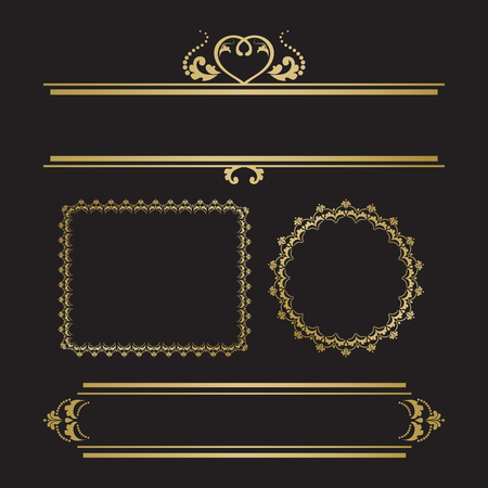 calligraph: Set of decorative borders and frames for invitation or post card. Gold color on black backdround