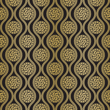 chineese: Seamless pattern inspired by antique greek ornament. Black and gold color