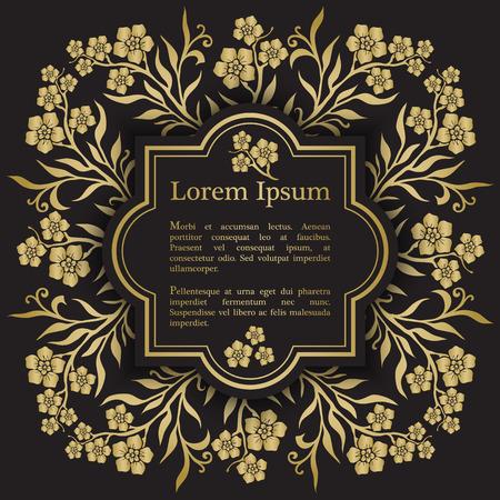 Background with gold myosotis (forget-me-not) graphic flowers. For wedding invitation, book cover or flyer Ilustração
