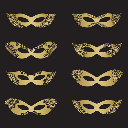 harlequin clown in disguise: Gold color masquerade mask silhouettes with decorative elements on black background